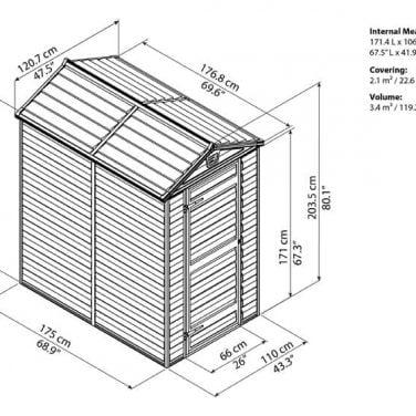 מחסן גינה סקיילייט 4x6 אפור